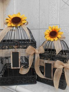 Birdcage Wedding Cardholder / Sunflower Wedding / by YesMoreFunk, $110.00