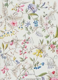 Tecido floral, William Kilburn, design em aquarela, Inglaterra séc.XVIII