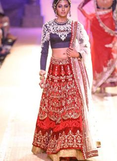 Red and Blue Bridal Lehenga Choli with Silver Embroidery at Zikimo