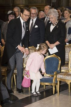 It was a service to celebrate her newborn baby brother Prince Oscar, but the adorable Princess Estelle managed to share the spotlight with her sibling