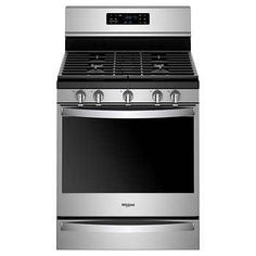 Whirlpool GAS Freestanding Range with Frozen Bake in Stainless Steel Manufacturer's Warranty Fingerprint Resistant Frozen Bake™ Technology Fan Convection Cooking FlexHeat™ Dual Radiant Element Four A Convection, Convection Cooking, Cleaning Oven Racks, Self Cleaning Ovens, Food Temperatures, Single Oven, Stainless Steel Oven, Large Oven, Fan