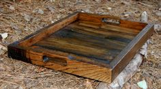 Large Dark Walnut Serving Tray from Recycled Pallet Wood.