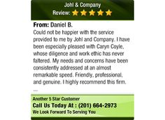 Could not be happier with the service provided to me by Johl and Company.  I have been...