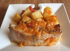 """Snapper in the oven """"Portuguese style"""" - Food From Portugal. A typical Portuguese recipe, very tasty and simple to prepare, snapper seasoned with a little salt, that goes in the oven with potatoes, drizzled with a sauce confectioned with tomatoes, onions, garlics, bay leaf, white wine and olive oil. http://www.foodfromportugal.com/snapper-in-the-oven-portuguese-style/"""