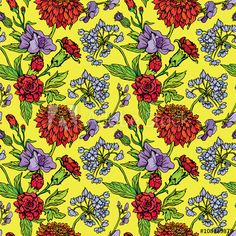 Seamless pattern with Realistic graphic flowers - clove and swee