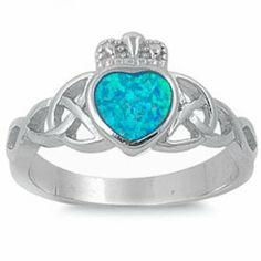 BLUE OPAL IRISH CLADDAGH HEART CELTIC DESIGN .925 Sterling Silver Ring