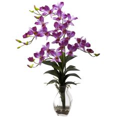 """Reaching ever skyward, this cheerful offering will add a bit of """"sunny meadow"""" to even the darkest corner. But of course, you won't put it in a corner - the fluffy petals and cascading greens demand to be viewed, while the decorative vase just adds to the appeal. Complete with faux water and river rock, this beautiful Dendrobium orchid will look great in any home or office."""
