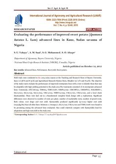Int. J. Agri. & Agri. R. Yahaya et al. Page 52 RESEARCH PAPER OPEN ACCESS Evaluating the performance of improved sweet pot...
