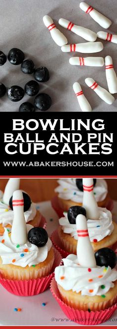 Every bowling party needs a cute cupcake and these bowling cupcakes fit the occasion. Use store bought fondant to make adorable bowling pins and balls to turn your cupcakes into a party!