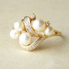 Vintage 15k Gold Statement Pearl & Diamond  Ring, Approx. Size US 9