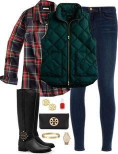 Plaid by thegingerprep featuring j-brand skinny jeans ❤ liked on PolyvoreJ.Crew  blouse / J Brand j-brand skinny jeans, $420 / Tory Burch  k...