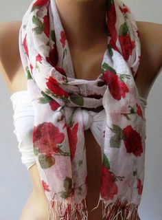 my style / Red  Flowers   Silky Touch  Elegance Shawl / Scarf by womann, $15.00