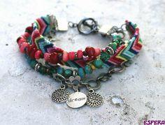 Friendship bracelet, boho chic, multi strand, gypsy, bamboo coral, garnet, Czech glass and daisy chain by Esfera jewelry ....gorgeous inspiration!