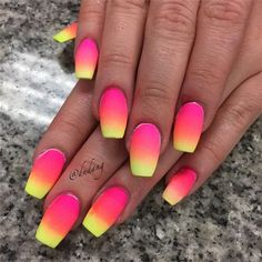 Neon Pink and Yellow Ombre Nails. Neon Pink and Yellow Ombre Nails. Neon Pink and Yellow Ombre Nails Pink Ombre Nails, Neon Nails, My Nails, Bright Nails Neon, Neon Yellow Nails, Bright Summer Nails, Ombre Hair, Stylish Nails, Trendy Nails