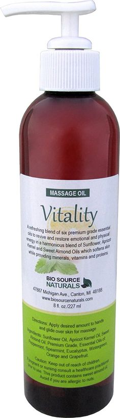 Vitality Massage Oil 8 fl. oz. Contains pure essential oils of Peppermint, Spearmint, Wintergreen, Eucalyptus, Orange and Grapefruit with All Natural Plant Oils > Don't get left behind, see this great  product : vanilla essential oil