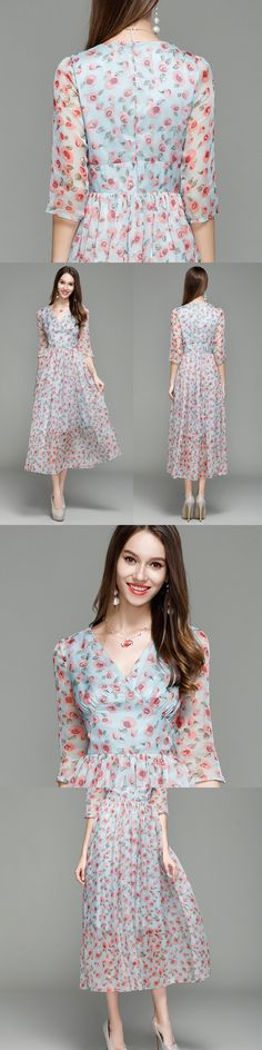 B0012 New Printed V-neck 3/4 sleeves Long Chiffon Prom Party Women Ball Gown Maxi Dresses A-Line