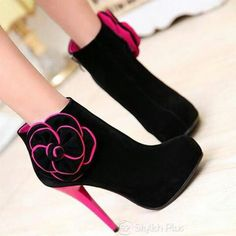 cutest booties in black and pink