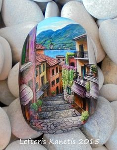Rock Painting Landscape Old Narrow Street In Bellagio Italy