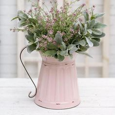 # DIY Home Decor farmhouse style Vintage Farmhouse Styled Wide Mouth Pink Pitcher - A Uniquely Inspired Life French Country Rug, French Country Bedrooms, French Country Decorating, Farmhouse Style Decorating, French Country Bathroom Ideas, French Cottage Decor, Farmhouse Style Bedrooms, Modern Country Style, Bedroom Country