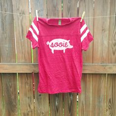 Custom PIG SOOIE Script Football Tee by MilkandHoneyTees on Etsy, $35.00