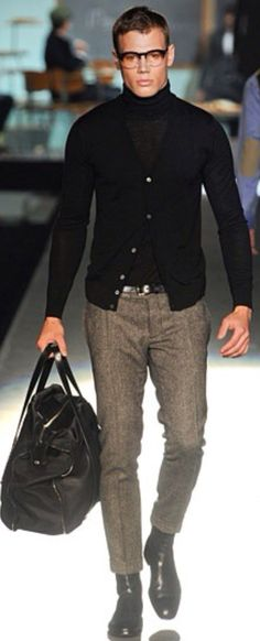 Classic Black Turtleneck and Cardigan, with Tweed Pants and Black Leather Duffle. Men's Fall Winter Fashion.