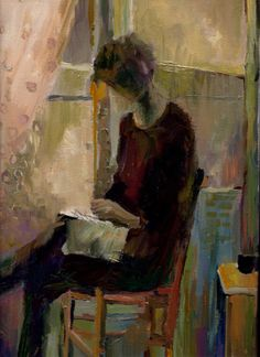 peinture à l'huile; la lectrice  Benedicte Garnier Fihey