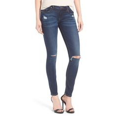 BLANKNYC 'Pros and Ex Cons' Distressed Skinny Jeans ($88) ❤ liked on Polyvore featuring jeans, dark blue, faded skinny jeans, patched jeans, zipper jeans, destroyed jeans and destructed jeans