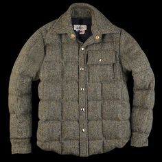 UNIONMADE - UNIONMADE Harris Tweed - Crescent Down Works Down Shirt in Green and Blue Herringbone
