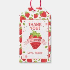 Strawberry Pink Girl Birthday Thank You Favor Gift Tags | Zazzle.com First Birthday Invitations, Birthday Thank You, Birthday Favors, Diy Birthday, Happy Birthday, Host Gifts, Custom Ribbon, Gift Labels, Party Favor Tags