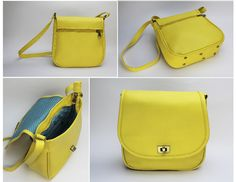 YELLOW FLAP. EXTERIOR. Made of yellow Cowhide Leather. Antique brass rectangle turn lock. Metal-nished zippers. Rectangular metal rings. External zipper pocket. Antique brass metal studs. INTERIOR: Printed lining. One Pocket for cell phone or glasses. One zipper pocket.