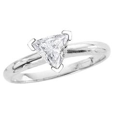 0.28 ct. D - SI1  Certified Trilliant Cut Diamond Solitaire Ring (White or Yellow Gold)