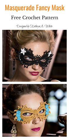 Masquerade Fancy Mask Free Crochet Pattern This Lace Mask Free Crochet Pattern is one of the greatest patterns for Halloween. It is a perfect addition to your homemade Halloween costume. Crochet Mask, Thread Crochet, Crochet Crafts, Crochet Doilies, Yarn Crafts, Crochet Projects, Free Crochet, Knit Crochet, Crochet Coaster