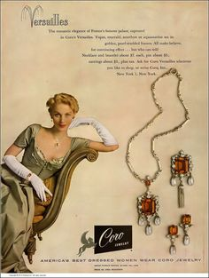 Ricki VanDusen, Coro jewelry ad, dress by Fira Benenson, Harper's Bazaar, November 1949 1940s Jewelry, Jewelry Ads, Cartier Jewelry, Cute Jewelry, Vintage Costume Jewelry, Etsy Jewelry, Vintage Costumes, Vintage Jewelry, Jewlery