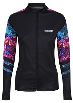 Whether you're running through the woods or warming up at CrossFit, this striking Tikiboo jacket shields you from the wind, showers and cold. Featuring the fabulous Rainboa snake print on a dark base, it's fierce and powerful yet lightweight.  Co-ordinating with our Rainboa leggings and shorts, you can zip in the warmth without overheating. With thumbholes to stop sleeves riding up, the colourful snakeskin print extends across the upper back and down part of the sleeves. Running Jacket, Stylish Tops, Skin Tight, Workout Tops, Snake Print, Crossfit, Showers, Woods, Base