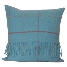 Add a soft touch to your sofa or kitchen bench with this pure wool cushion, featuring a blue check design. Team with mismatched cushions for a relaxed, country look.  Product: CushionConstruction Material: Wool and polyester fillColour: Powder blueFeatures: Insert included  Dimensions: 40 cm x 40 cmCleaning and Care: Cold wash line dry