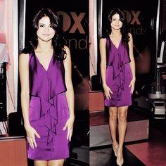 Selena Gomez Wearing a Purple Dress