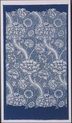 "#William_Morris named ""Wandle"" (1884) for the river that ran through Merton Abbey Works ""to honour our helpful stream"". It contained soft water, important in dyeing textiles. He perfected the ancient art of indigo discharge printing, which involves dyeing #fabric in #indigo. The design is printed using bleaching agents. This example shows the pattern after its 1st. application, before colors are added. The white areas are fully discharged & pale blue shows areas where a weaker agent was…"