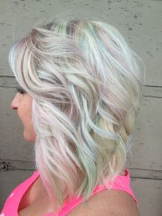 Pastels, unicorn hair, opal and platinum blonde with easter pastels by Janna Preston at the Colour Parlor