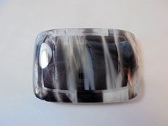Vintage Glass Belt Buckle Black/White/Grey/Clear Silver Tone Metal Retro 1980's! #Unbranded #None