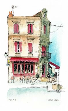 Boxing Day in Duras, with elaborate Christmas decoration outside the bar. One tiny tree. Pen And Watercolor, Watercolor Landscape, Watercolor Illustration, Watercolor Paintings, Watercolors, Watercolor Architecture, Architecture Art, Perspective Architecture, City Sketch