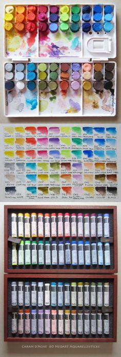 Yesterday I cut about 8 mm from 60 Neoart Aquarellesticks and paste  them in a plastic palette, to have better access to all 60 colors Neoart are finest Water-soluble wax pastels (Artist / Pro...