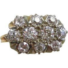 Vintage Estate Art Deco Engagement Anniversary Old European Diamond Ring 14K Yellow Gold