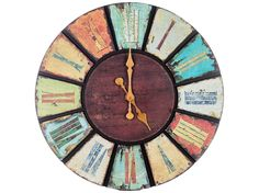 Multi Color Round Wooden Wall Clock