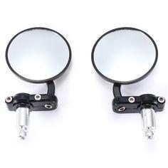 Universal 7/8 inch Black Aluminum Round Style Side Mirrors For Honda Harley