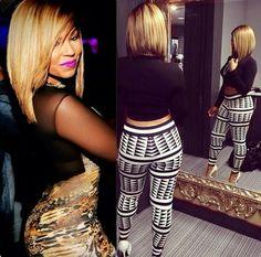Singer Ashanti blonde bob