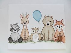 Woodland Buddies, baby boy nursery, nursery art, woodland nursery art, kids wall décor, original painting, nursery animals- I have added another addition to my woodland animal nursery collection- a super cute grouping of five woodland babies! This original watercolor painting, NOT a print, measures 10 X 8 inches and is a one-of-a-kind! I have created a new owl design and have him featured in this Little Buddies collection. I have initialed the front and signed, titled, and dated the back…