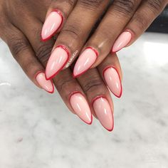 Minimalist nail design pink with red outline #blackgirlnails