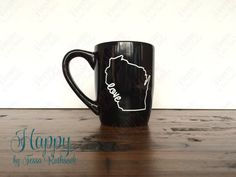 Black Coffee Mug Wisconsin Pride State Love Outline by HappyTessa