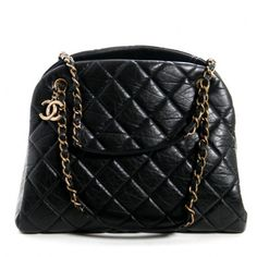 Chanel Black Distressed Leather Mademoiselle Bowler Bag