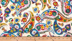 Quilting Bee Large Paisley Floral by Fabri Quilt in Ecru. Super size and super pretty paisley floral in pink, blue, yellow, green and red on off white. Perfect for girly dresses, skirts, drapes, quilt backings, aprons, place mats, table runners, c...